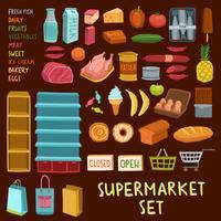 Supermarket ikonuppsättning vektor