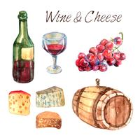 Wein- und Käseaquarellpiktogramme eingestellt