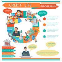 Credit Life-Infografiken vektor