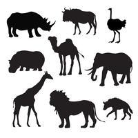 Vilda afrikanska djur svart