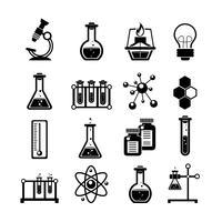Kemiska ikoner sätta svart vektor