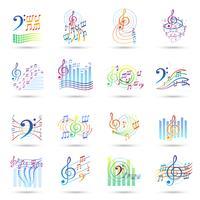 Musik noteringar ikoner uppsättning