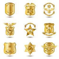 Polis Badges Guld vektor