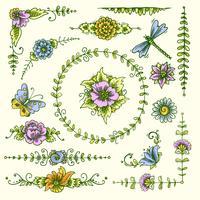 Vintage dekorativa element färg vektor