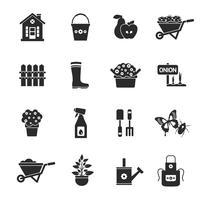 trädgårdsarbete svarta ikoner uppsättning