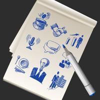 Skizzenbuch mit Geschäftsgekritzeln