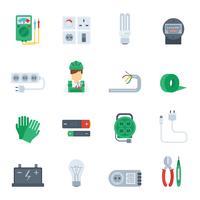 Elektricitets ikon platt uppsättning