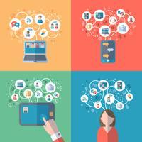 Internet och sociala nätverk koncept vektor