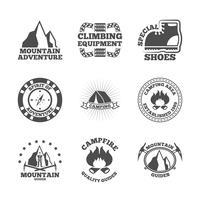 Mountine klättrare etiketter set vektor