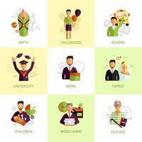 Mänskliga livssteg ikoner ställs platt vektor