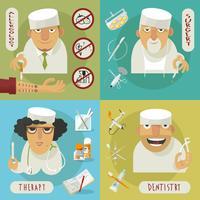 Medicinläkare platt ikoner vektor
