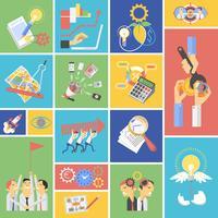 Business teamwork koncept platt ikoner uppsättning vektor