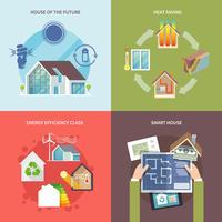 Energibesparande hus Flat vektor
