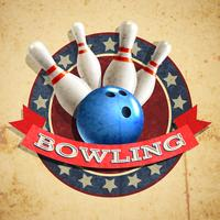 Bowling Emblem Hintergrund vektor