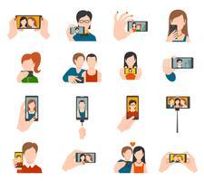 Selfie ikoner platt vektor