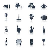Vin svart ikoner uppsättning