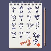 Gesichter Charaktere Skizze vektor