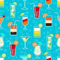 Seamless mönster med alkohol cocktaildrycker