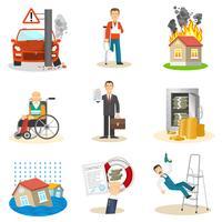 Försäkrings- och riskikoner vektor