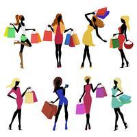 Shopping Mädchen Silhouetten vektor