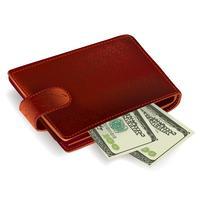 Brieftasche mit Rechnungen gefüllt