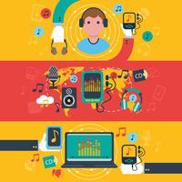 Musik apps koncept platt banners set