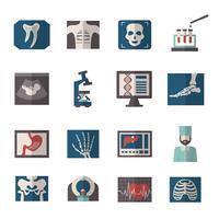 Ultraljud röntgen ikoner platt