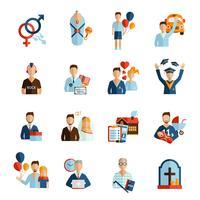 ikoner för livssteg ikoner