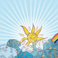 Doodles väder dekorativa färg affisch vektor
