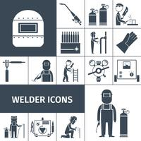 svetsare ikoner svart uppsättning