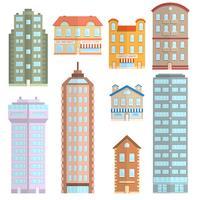 Hus ikoner platt uppsättning