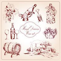 Vin dekorativa ikoner uppsättning