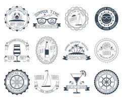 Sommar semester emblem klistermärken uppsättning