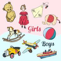 Leksaker skissera ikoner uppsättning