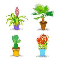 Dekorativa kontor blomma ikoner Set
