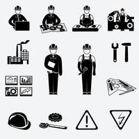Konstruktions ikoner uppsättning