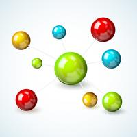 Färgad molekylmodellkoncept
