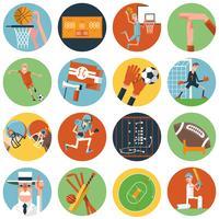 Team sport ikoner ställs platt vektor