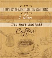 Kaffeset retro affisch vektor