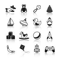 Spielzeug schwarze Icons Set