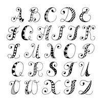 Skizzieren Sie die Schriftart des Alphabets vektor