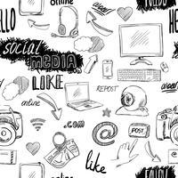 Seamless doodle sociala medier mönster vektor