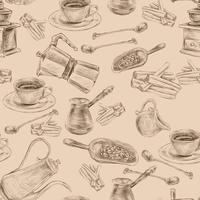 Retro kaffeset sömlöst mönster vektor