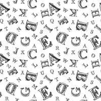 Skiss alfabetet sömlöst mönster vektor