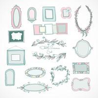 Samling av doodle ramar för bröllop vektor