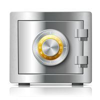 Realistisk stål säker ikon säkerhetskoncept