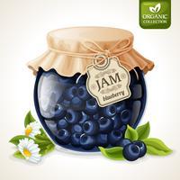 Blueberry jam glas vektor