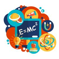 Physik Wissenschaft flaches Design vektor