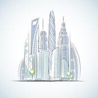 Eko gröna byggnader ikoner