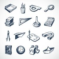 Skolan skissar ikoner vektor